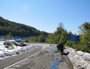 snow at the Bulgarian - Turkish border